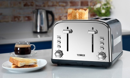 Tower Kettle and Four-Slice Toaster Set With Free Delivery