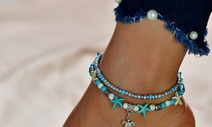 Beaded Starfish and Turtle Charm Anklet by Diane Lo'ren