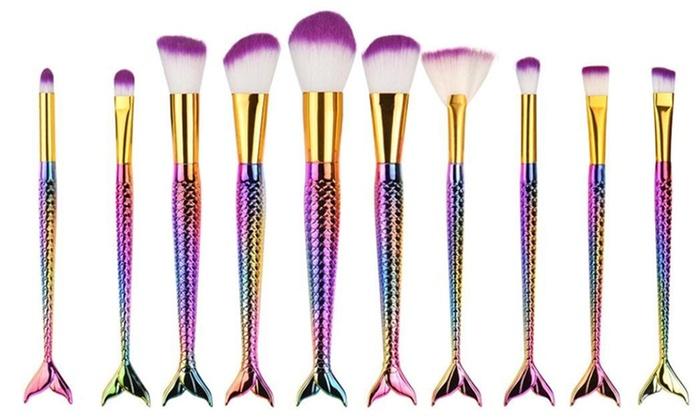 0f28c29f6f4 Professional Mermaid Cosmetic Makeup Brush Set (10-Piece)