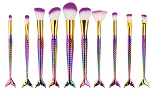 Professional Mermaid Cosmetic Makeup Brush Set (10-Piece)