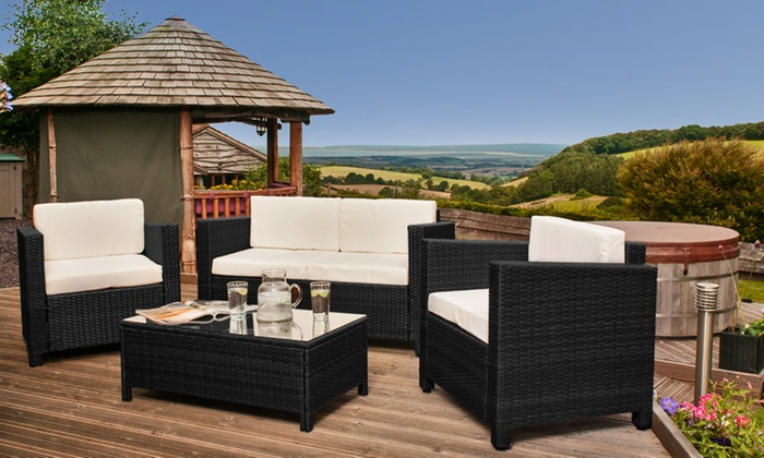 Rattan garden furniture set groupon goods for Best deals on patio furniture sets