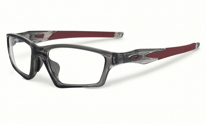 oakley crosslink sweep unisex optical frames in gray smoke and wine