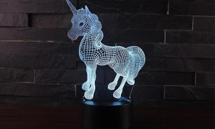 3D Unicorn Night Light and Remote | Groupon