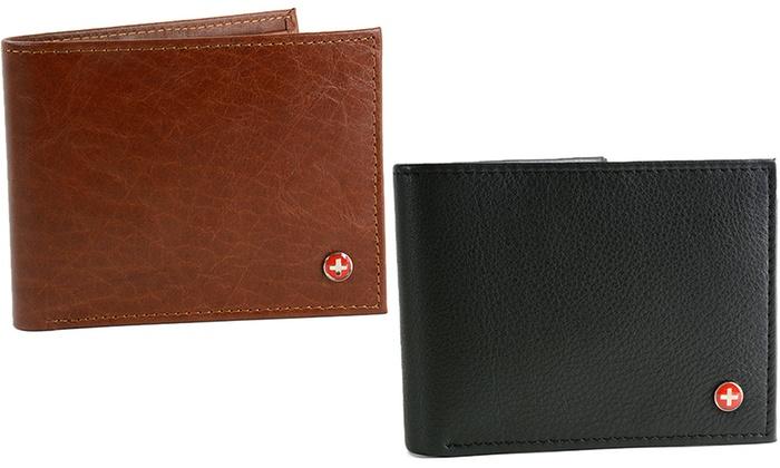 Alpine Swiss Men's Multicard Bifold Genuine-Leather Wallet