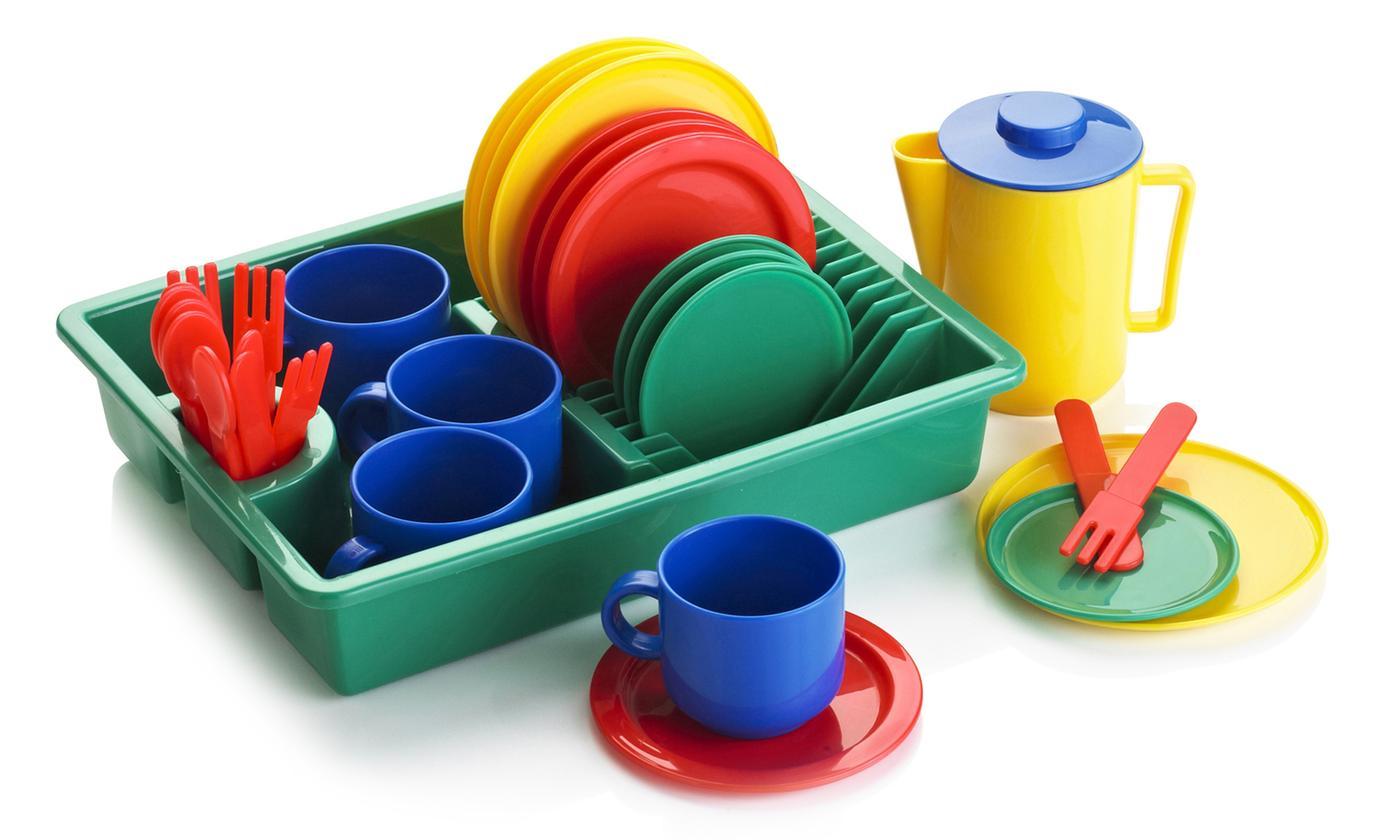 KiddyPlay 29-Piece Tea and Dish Drainer Playset