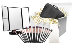 Gift Set: Makeup Brushes, Toiletry Organizer, and Mirror