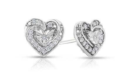 1/4 CTTW Diamond Heart Shaped Earring in Sterling Silver