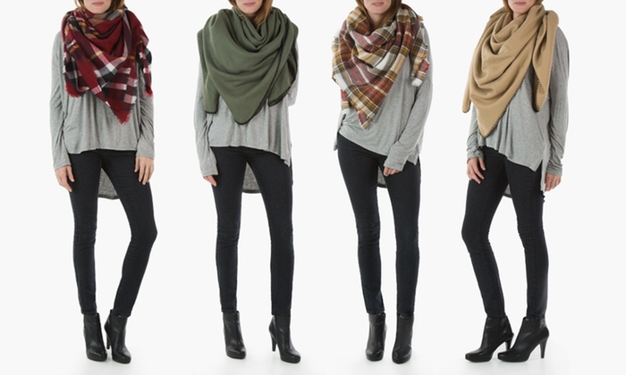 Sociology Women's Plaid or Solid Blanket Scarves | Groupon Exclusive