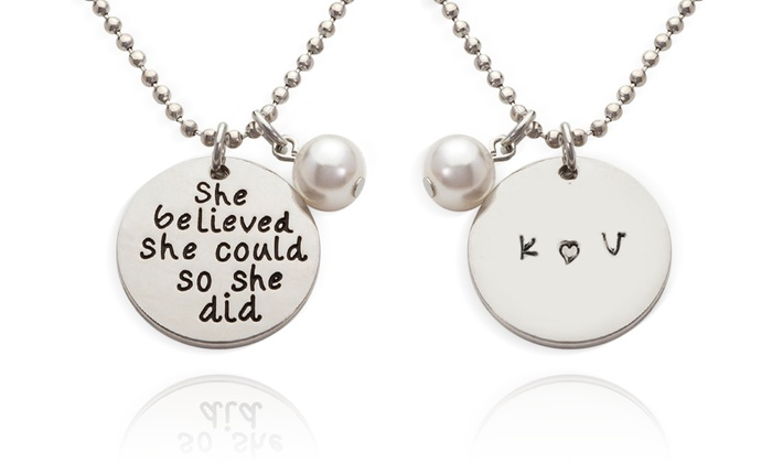 "Stamp the Moment: ""She Believed She Could"" or ""I Love You to the Moon and Back"" Necklace from Stamp the Moment (Up to 87% Off)"