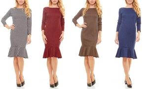 Seranoma Women's 3/4-Sleeve Houndstooth-Print Knee-Length Dress