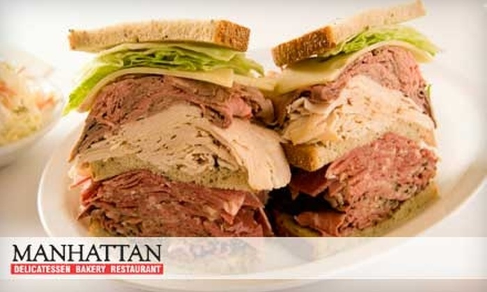 Manhattan Delicatessen Bakery Restaurant - Multiple Locations: $10 for $20 Worth of New York–Style Deli Fare and Drinks at Manhattan Delicatessen Bakery Restaurant. Choose Between Two Locations.