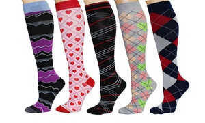 REXX Women's Patterned Knee-High Compression Socks (5-Pack)