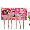 Rose-Shaped Makeup Brush Set with Floral Pouch (6-Piece)