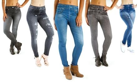 3er oder 6er-Pack Slim- und/oder Rip-Up-Jeggings in Jeans-Optik in Farben Grau, Schwarz und Denim-Blau (75% sparen*)