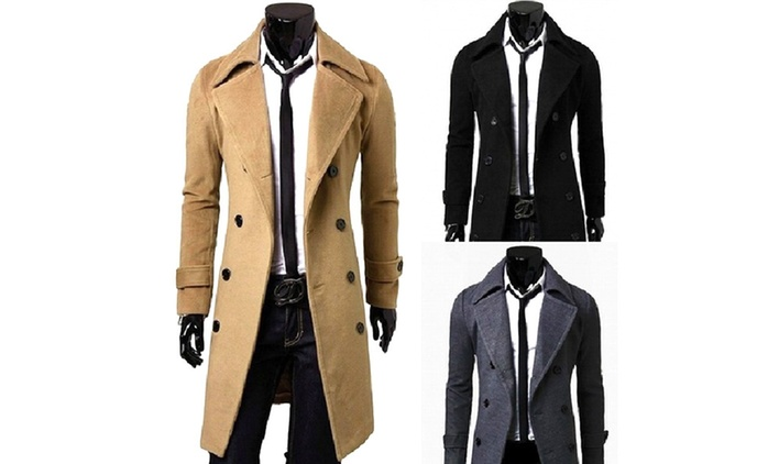 $39 for a Men's Double-Breasted Long Coat