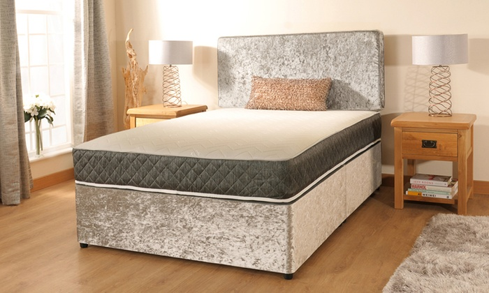 chamonix shimmer velvet divan bed and mattress for 169
