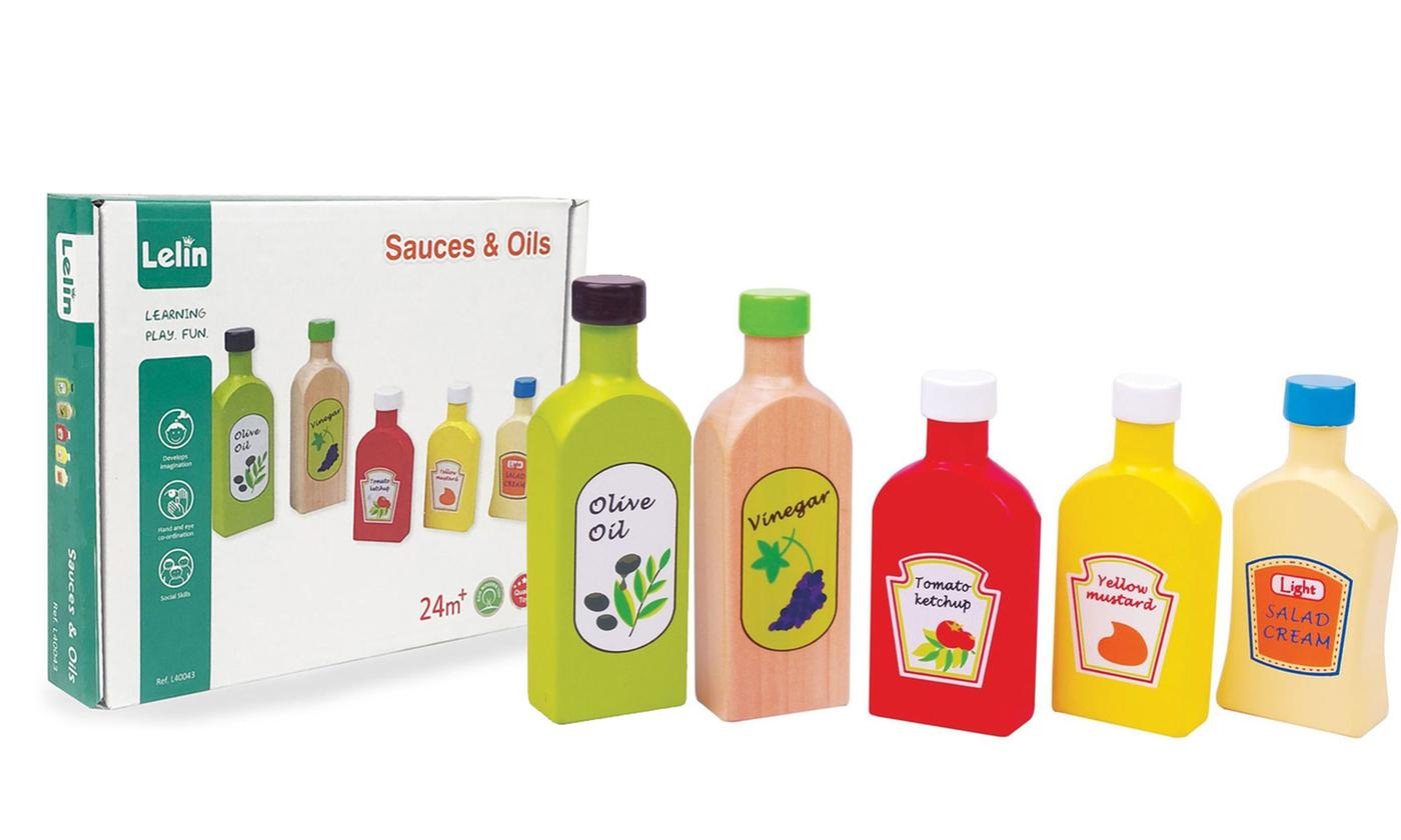 Lelin Wooden Oil and Sauces Five-Piece Toy Set