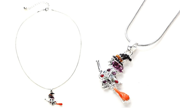 e8644e53c15f8a Up to 77% Off Swarovski Elements Flying Witch Pendants