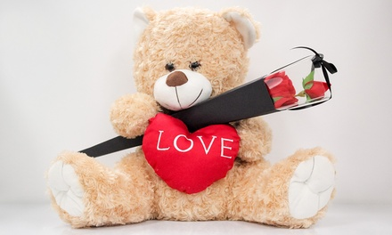 $69 for Extra Large Teddy Bear and Red Rose Delivered from Sydney Top Flowers $94.95 Value
