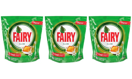 3 o 6 packs de 31 pastillas de lavavajillas Fairy All in One fragancia naranja