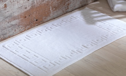 Pure Cotton Terry Towelling Greek Key Bath Mats in White from...