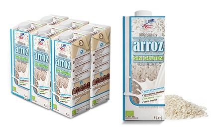 Pack de 6 briks de 1 litro de bebida de arroz sin gluten 100% vegetal