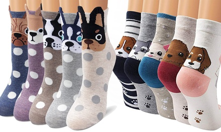 Five or Ten Pairs of Women's Dog Socks
