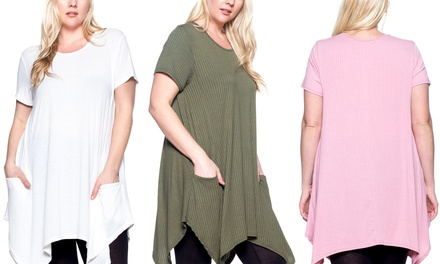 Step Up Women's Plus Size Shark-Bite Swing Top with Pockets