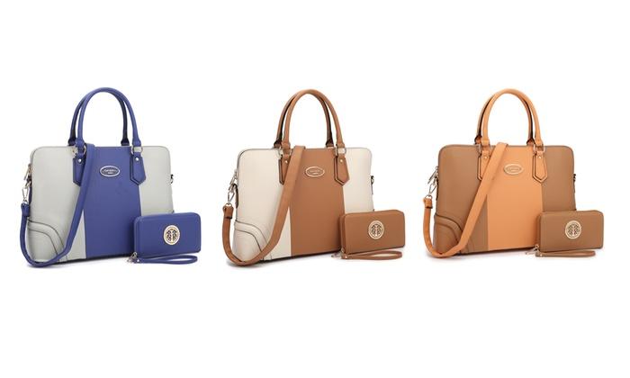 Dasein Collection Kaelan Satchel Handbag with Matching Free Wallet