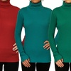 Women's Solid Ribbed Long-Sleeve Turtleneck. Plus Sizes Available.
