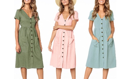 Button Front Midi Dress: One $19 or Two $29