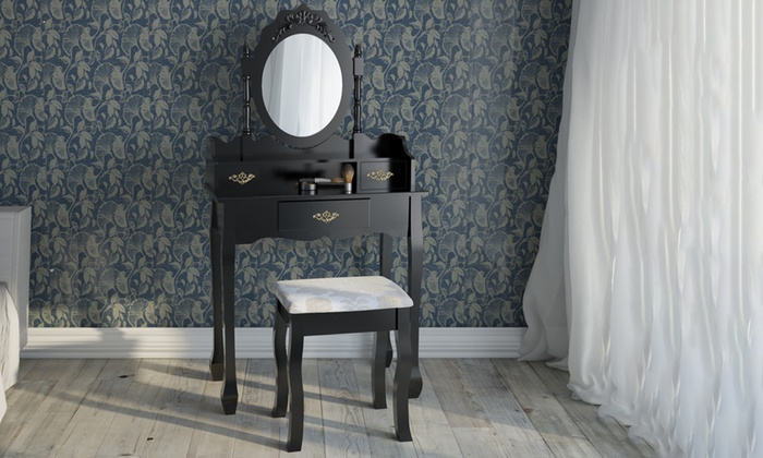 Interieur Kaptafel Styling : Kaptafel met kruk en ovale spiegel groupon goods
