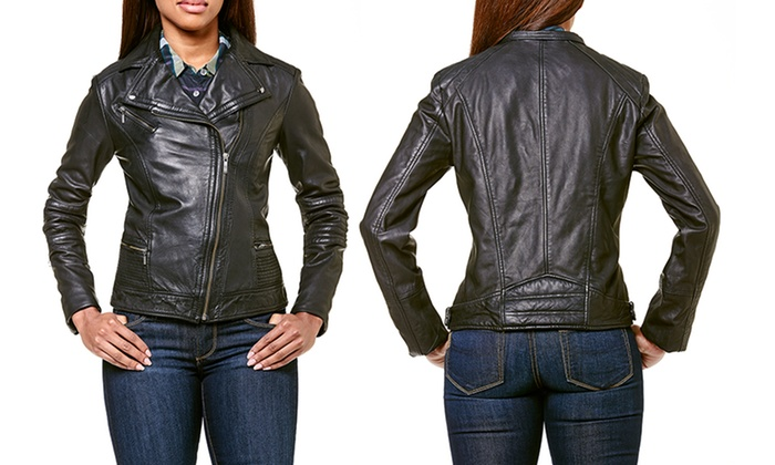 Cole Haan Moto Smooth Leather Women S Jackets Groupon