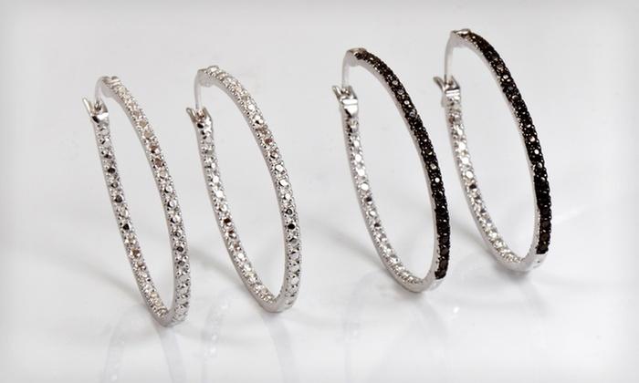 Sterling Silver Hoop Earrings with Black or White Diamonds: $15.99 for Sterling Silver Hoop Earrings with Black or White Diamonds ($42.50 List Price). Free Shipping and Returns.