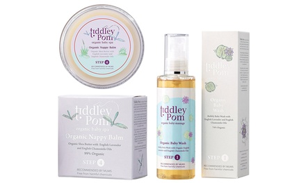 Tiddley Pom Organic Baby Wash and Nappy Balm Set