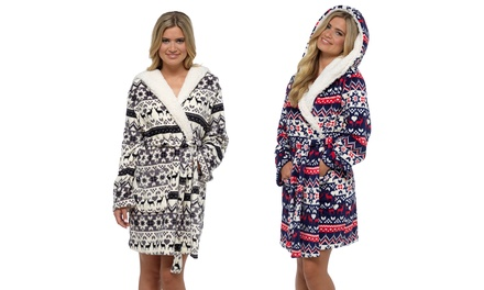 Women's Hooded Fleecy Fair Isle Robe