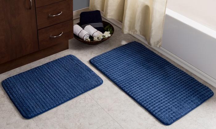 33 Off On Memory Foam Woven Bath Mat Set Groupon Goods