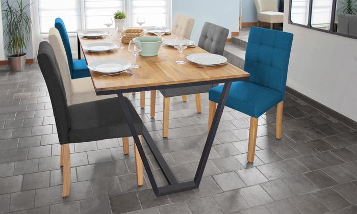 Lot de 2 ou 4 chaises scandinaves capitonnées en tissu Paulette