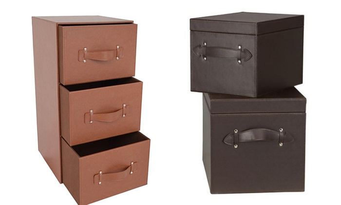 Faux Leather Storage Boxes ...