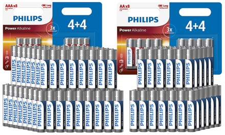 3, 4, 6 ou 9 packs de 8 piles Philips Ultra Alkaline AA ou AAA