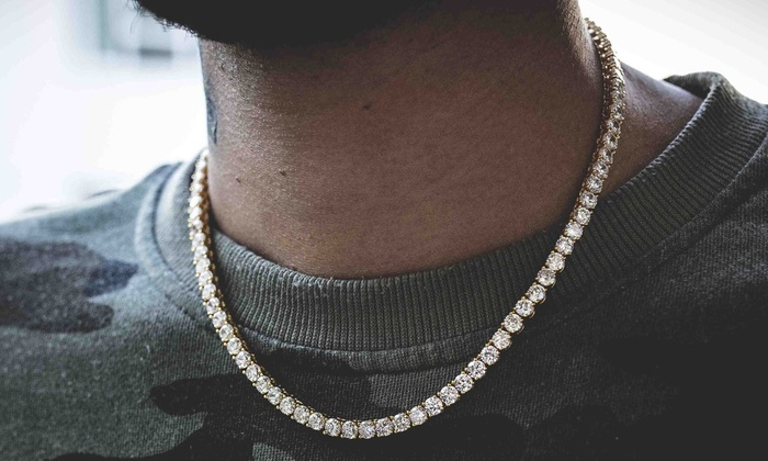 7f290ff7ae999 3mm Men's Round Cut Cubic Zirconia Tennis Necklace in Sterling ...