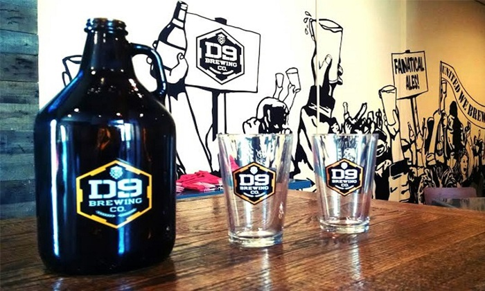 D9 Brewing Company - Cornelius: Beer, Pint Glasses, and Growler for Two or Four at D9 Brewing Company (Up to 38% Off)