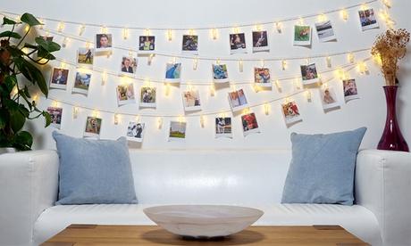 1, 2 guirlandes porte photos avec 10 ou 40 mini pinces avec lumières LED