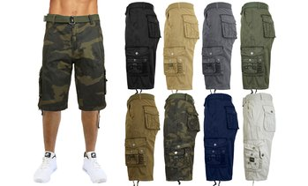 Galaxy by Harvic Men's 100% Cotton Belted Cargo Shorts (Sizes 30-48)