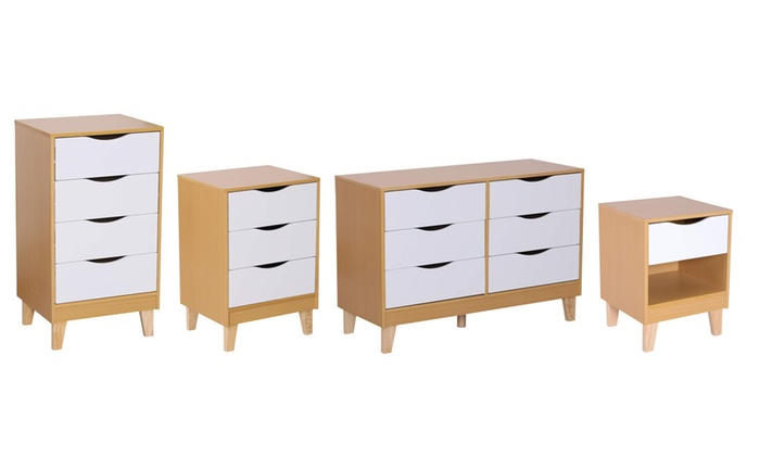 HOMCOM Nordic Style Chest of Drawers with Elevated Feet