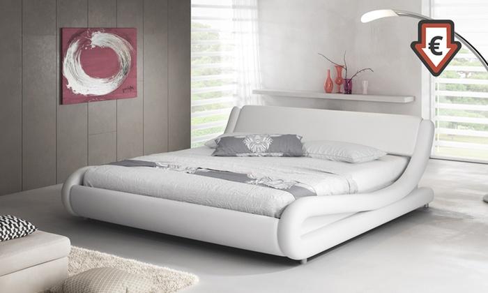 Letto Matrimoniale In Ecopelle Bianco.Letto Matrimoniale Di Design Modello Piccione In Ecopelle Bianco