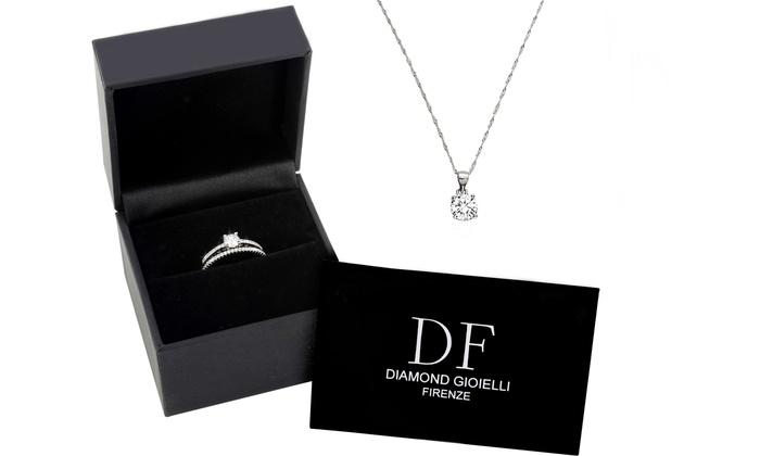 nuovo di zecca f763f f2ce4 Parure di Gioielli in Argento 925 Diamond Firenze, con collana e coppia di  anelli