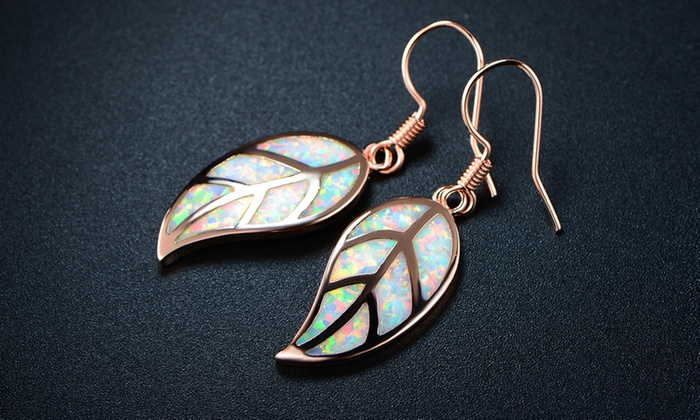 57ea5d721 Fire Opal Leaf Earrings in 18K Rose Gold Plating by Peermont