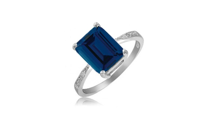 ring sapphire flower in silver white sterling blue carat created genuine products