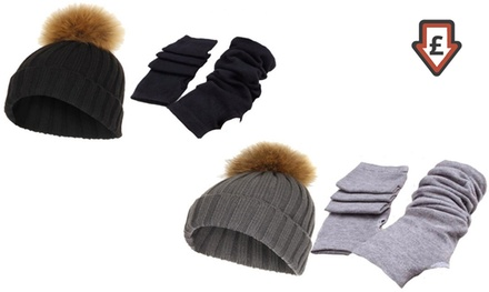 PomPom Hat and Winter Gloves in Choice of Colour